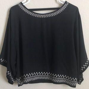 SZ S Black Blouse W/ White Embroidery